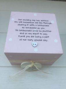 Shabby Personalised Chic Gift Bridesmaid Maid Of Honour Wedding Trinket Box